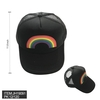 RAINBOW STRIPE DESIGN FRONT BLACK BASEBALL HAT