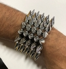 5 ROWS SPIKE SILVER CRHROME STRETCH BRACELETS