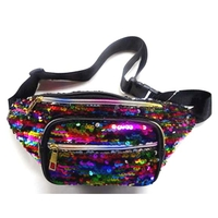 SEQUIN FANNY PACKS, RAINBOW COLOR LOOK.4 ZIPPERS,
