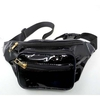 BLACK SHINY FANNY PACKS, 4 ZIPPERS, RAINBOW ZIPPER LOOK