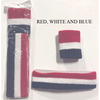 RED, WHITE & BLUE SWEATBAND HEADBAND & 1 WRISTBAND SET