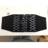 CORSET BELT, SUEDE BLACK, 3 ROWS OF LACES, SILVER  RIVETS