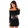 CORSET STYLE WIDE BELT WITH RED SEWN  ON FLOWER