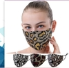 FACE MASK SEQUINS LEOPARD LOOKS, COTTON, FILTER POCKET