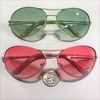 PINK AND GREEN LADIES STYLE AVIAOR LOOK SUNGLASSES