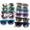 ASSORTED COLORS BLUES BROTHER STYLE SUNGLASSES, DARK LENS