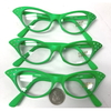 CLEAR LENS,NEON GREEN RETRO CAT SHAPE WITH RHINESTONES, LIMITED