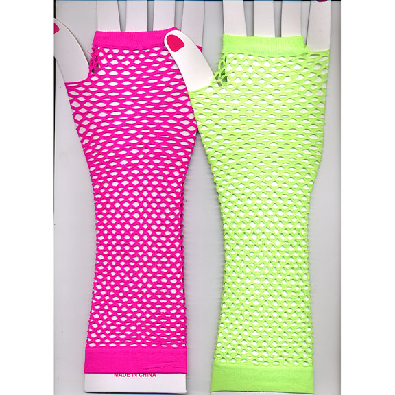 FISHNET FINGERLESS NEON COLOR GLOVES ELBOW  LENGTH