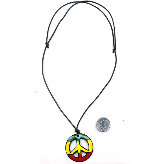 PEACE SIGN PAINTED IN RASTA COLORS  ALL NATURAL MATERIALS