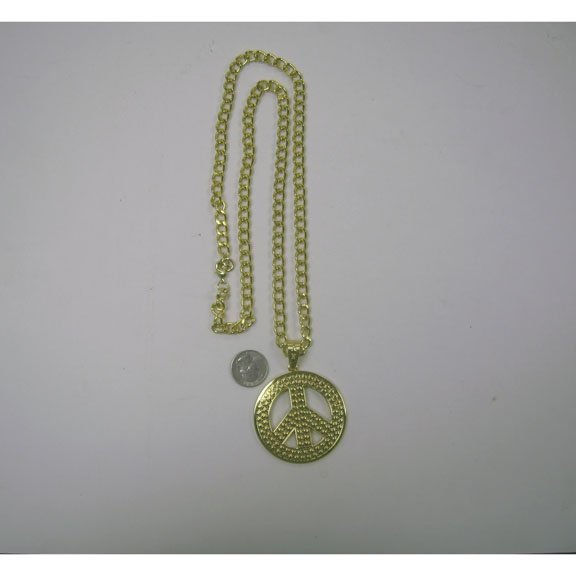 PEACE SIGN NECKLACE GOLD BETTER QUALITY