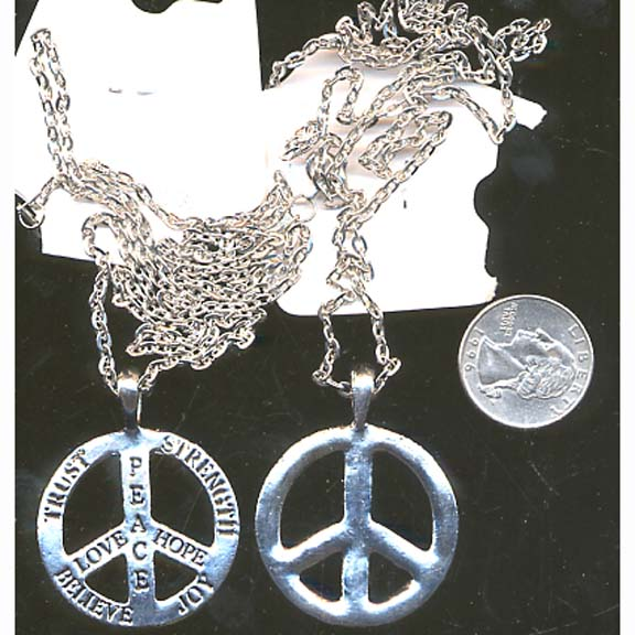 PEACE SIGN WITH BELIEF WORDS ON CHAIN NECKLACE