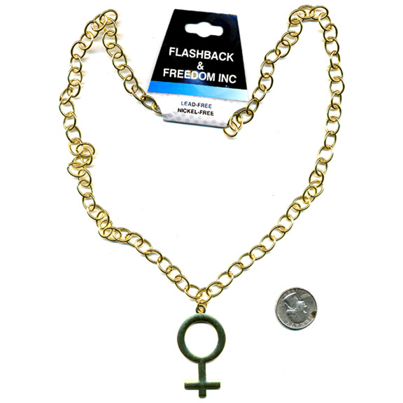 LEAD FREE FEMALE SYMBOL NECKLACE IN GOLD COLOR