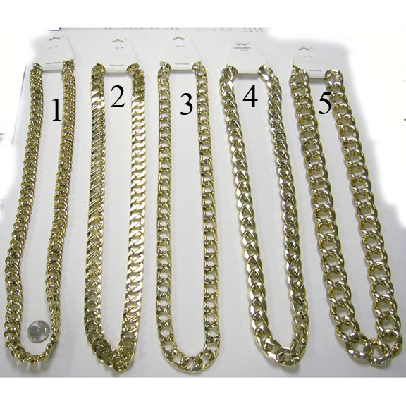 ASSORTED STYLES GOLD CHAIN NECKLACES 36 INCH LONG