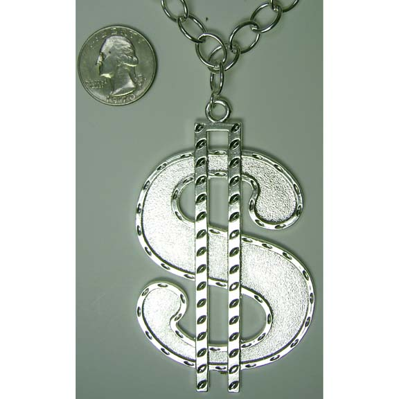 LEAD FREE DOLLAR SIGN SILVER NECKLACE