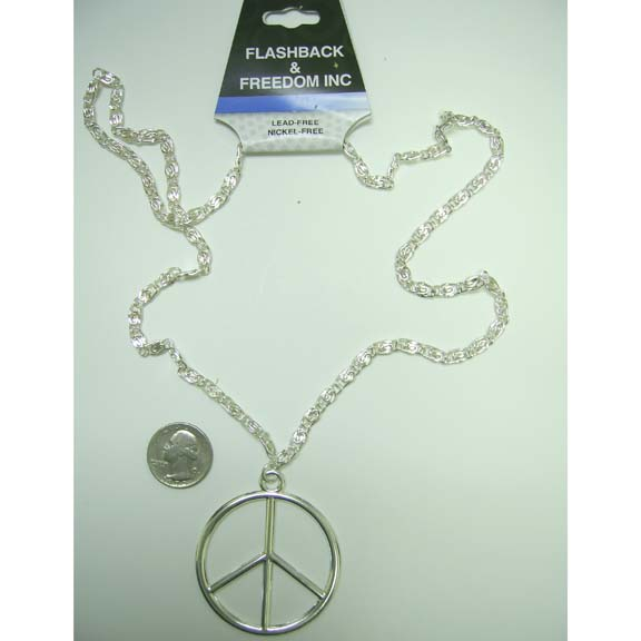 LEAD FREE SILVER PEACE SIGN NECKLACE ON A 27 INCH CHAIN
