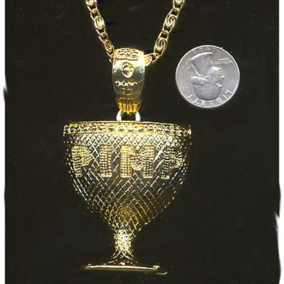 PIMP GOBLET NECKLACE, GOLD OR SILVER COLOR