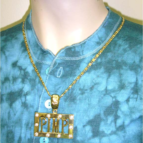 PIMP NECKLACE WITH RHINESTONES IN GOLD