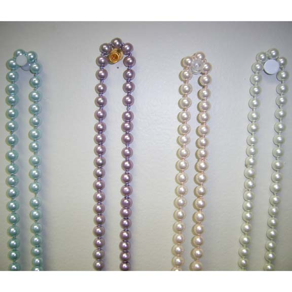 90 INCH GLASS BEAD PEARL NECKLACES IN PASTEL COLORS