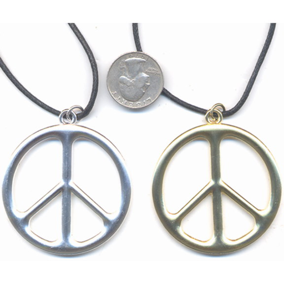 LEAD FREE PEACE NECKLACE COOLER SILVER OR GOLD