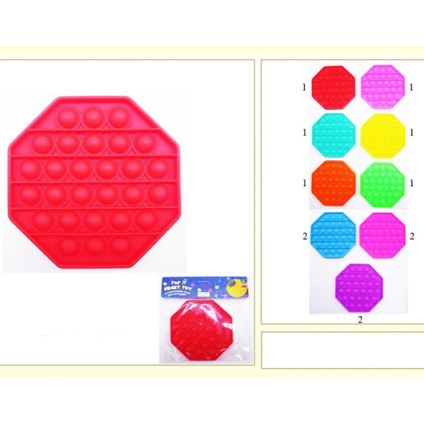 POPPER FAD NOVELTY TOY  ASSORTED COLORS  8 SIDED SHAPE