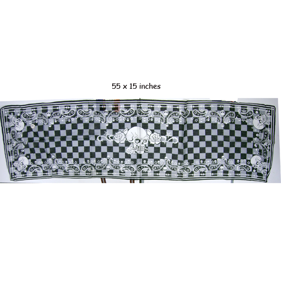 SCARF 55X15 INCHES SKULLS WITH PAISELY LEAVES AND GRAY/BLK CHECK