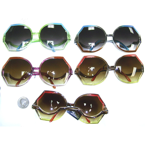 RETRO LOOKING TRI COLOR  BENT ARMS SUNGLASSES