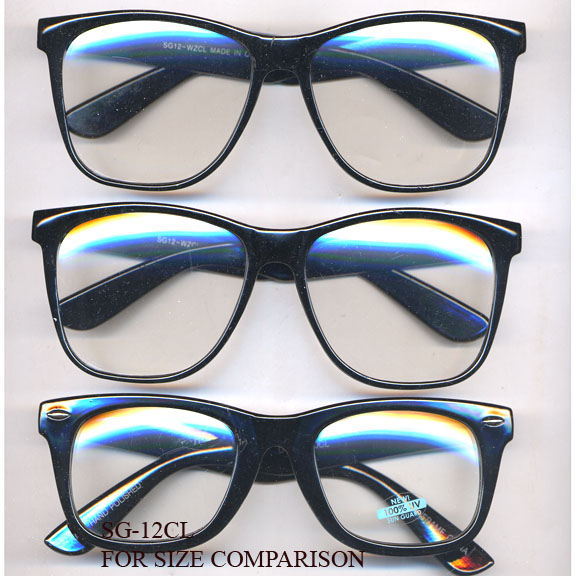 CLEAR LENS,  LARGE BLACK FRAMES GLASSES