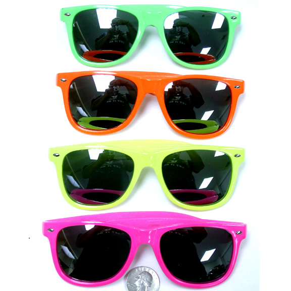 BLUES BROTHERS HOT NEON COLORS SUNGLASSES W/ MIRROR LENS