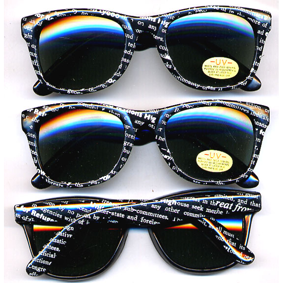 80's BLUES BROTHERS W/ NEWSPAPER PRINT SUNGLASSES