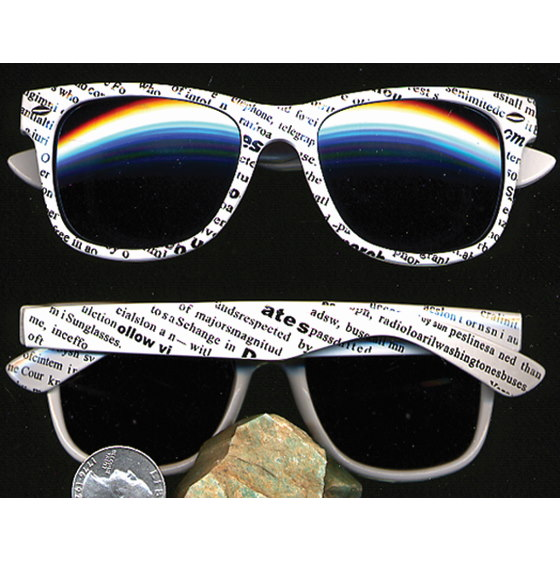 80'S BLUE BROTHERS NEWSPAPER PRINT WHITE SUNGLASSES