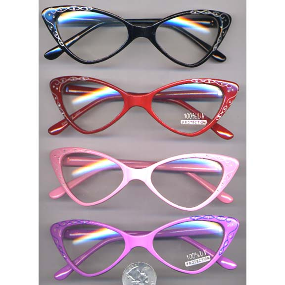 CAT RETRO LOOKING OPAQUES GLASSES- no black