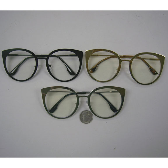 CLEAR LENS CAT SHAPE LARGE METAL FRAMES GLASSES