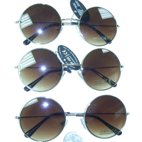 LENNON STYLE GOLD METAL FRAMES WITH BROWNISH TRANSENDING LENS