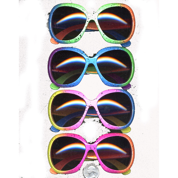 RAINBOW SPLATTER PRINT RETRO LADIES SUNGLASSES