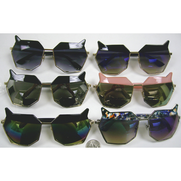 CAT LOOK FUNKY SUNGLASSES ASSORTED  COLORS