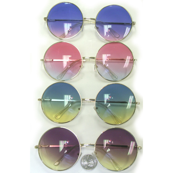 JANIS JOPLIN SIZE ROUND FRAMES WITH COLOR TRANSCENDING SUNGLASS