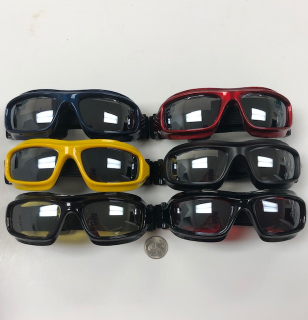 GOGGLES, MIRROR LENS, ASSORTED COLORS, MOSTLY BLACK FRAMES