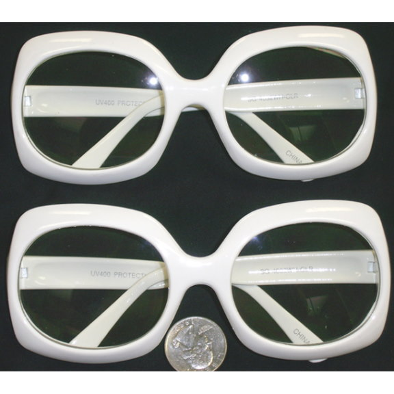 CLEAR LENS RECTANGULAR JACKIE O'S WHITE FRAME GLASSES