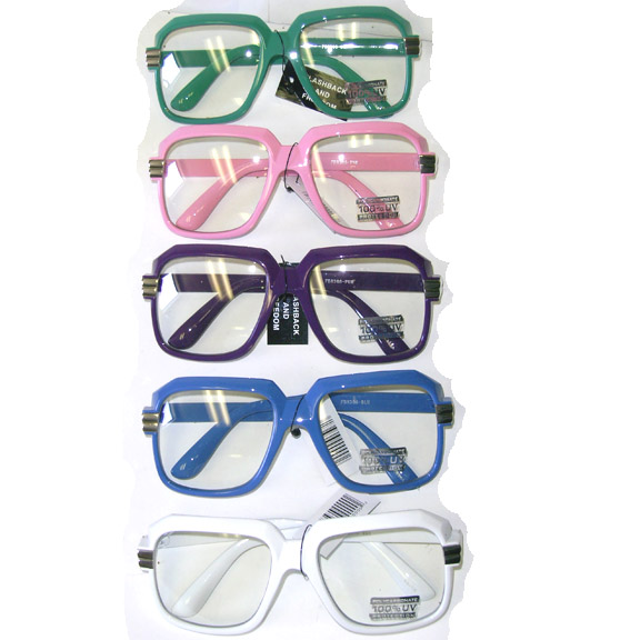80'S FASHION CAZELL STYLE CLEAR LENS, COLORED FRAMES SUNGLAS