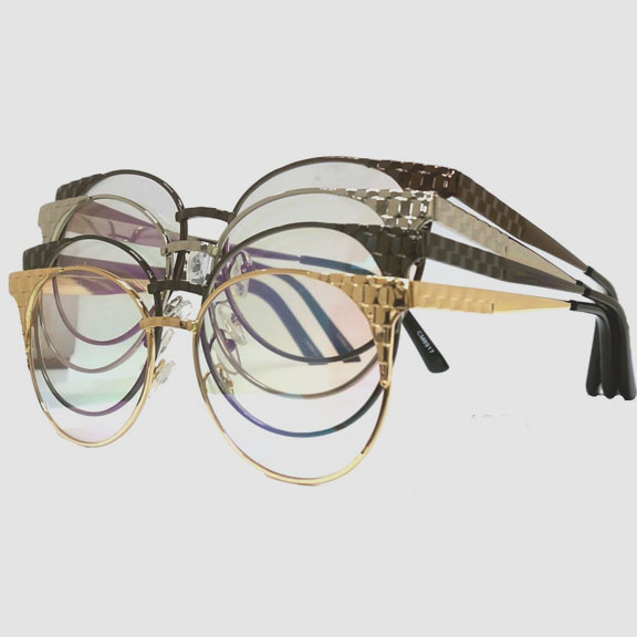 CLEAR LENS, METAL FRAMES NUGGET TEXTURE GLASSES