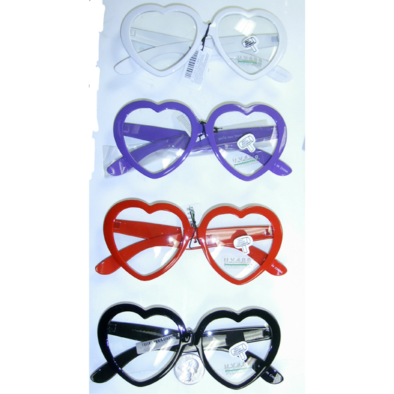 CLEAR LENS HEART SHAPE SUNGLASSES IN ASSORTED COLORS