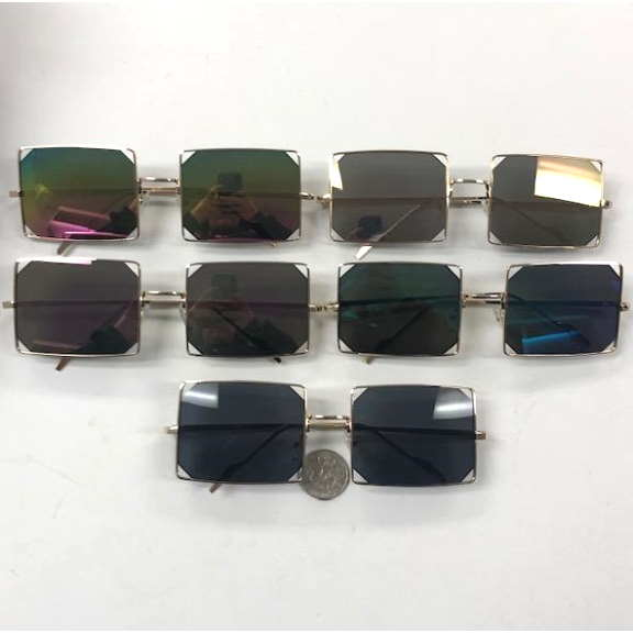RECTANGLE SHAPE FRAMES WITH ASSORTED LENSES, OPEN CORNERS LENS