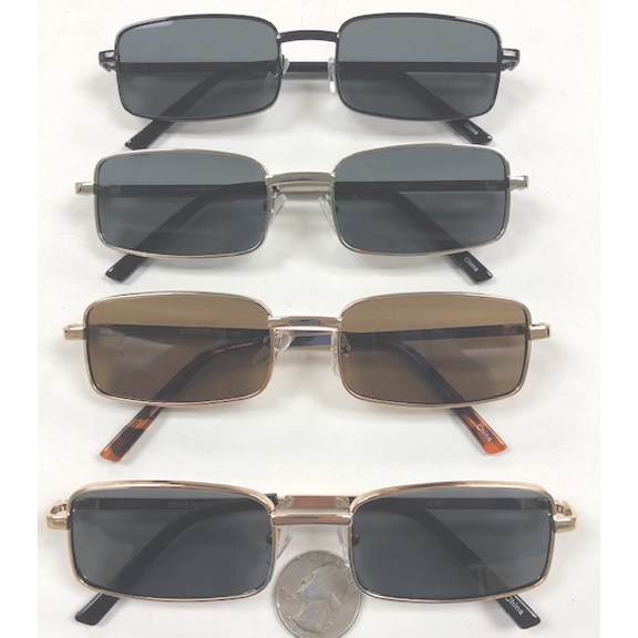 RECTANGULAR METAL MOD LOOK DARK LENSES SUNGLASSES