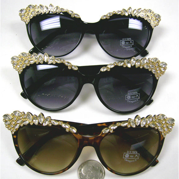 FANCY SUNGLASSES WITH TOP IN GOLD AND GEM STONES
