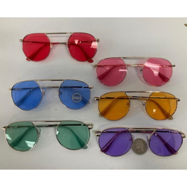 COLOR LENS ROUND SHAPE TOP BRIDGE SUNGLASSES, SPRING TEMPLE