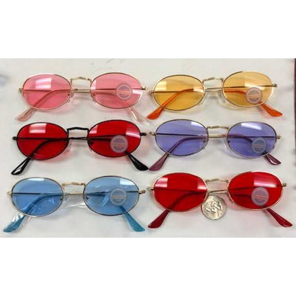OVAL SHAPE METAL FRAMES, ASSORTED COLOR LENSES SUNGLASSES