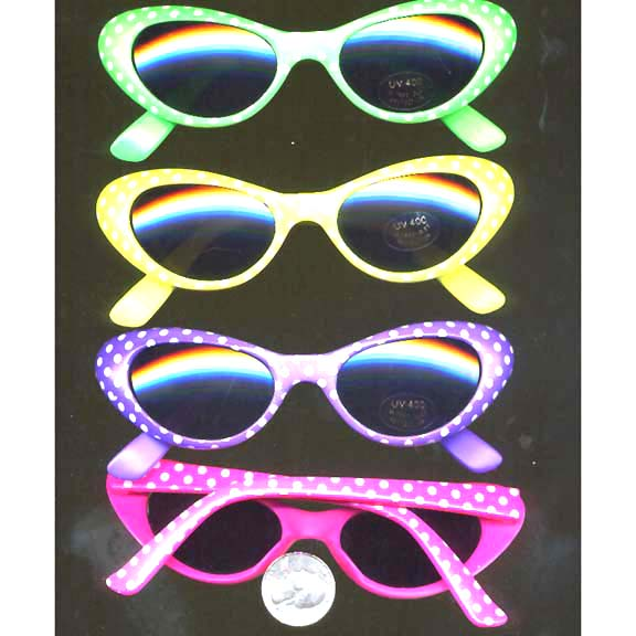 CAT EYE SUNGLASSES, NEON BRIGHT COLORS WITH POLKADOTS