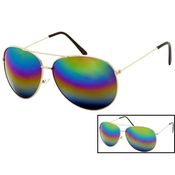 AVIATORS RAINBOW MIRROR LENS SUNGLASSES