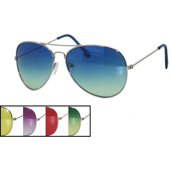 AVIATOR CLASSIC SUNGLASSES W/ COLOR TRANSCENDING AND SOLID LENS