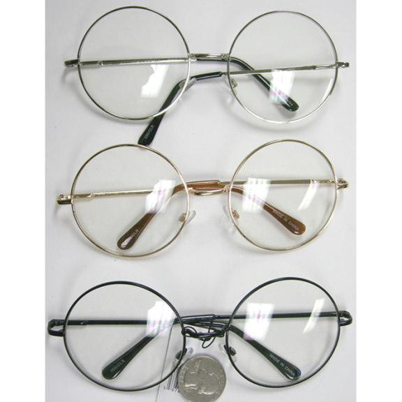 CLEAR LENS LARGE ROUND FRAME GLASSES
